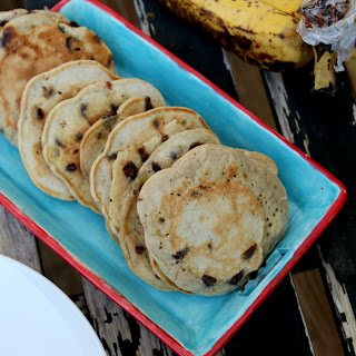 Healthy Chocolate Chip Banana Pancakes