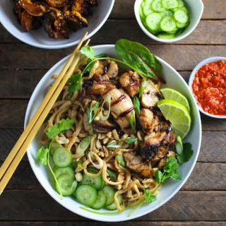 Thai Peanut Noodles with Grilled Chicken.