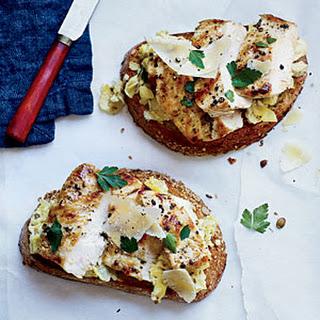 Open-Faced Chicken Sandwiches with Artichoke Pesto.