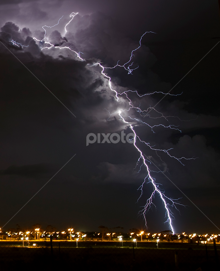 Lightning stike by Peter Cannon - Landscapes Weather ( pwcstorms, clouds, canon, melbourne, landscape, photography, lightning, winter, sky, nature, australia, weather, night, light, black )