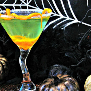 Apple Pucker Margarita with Candy Corn Worms