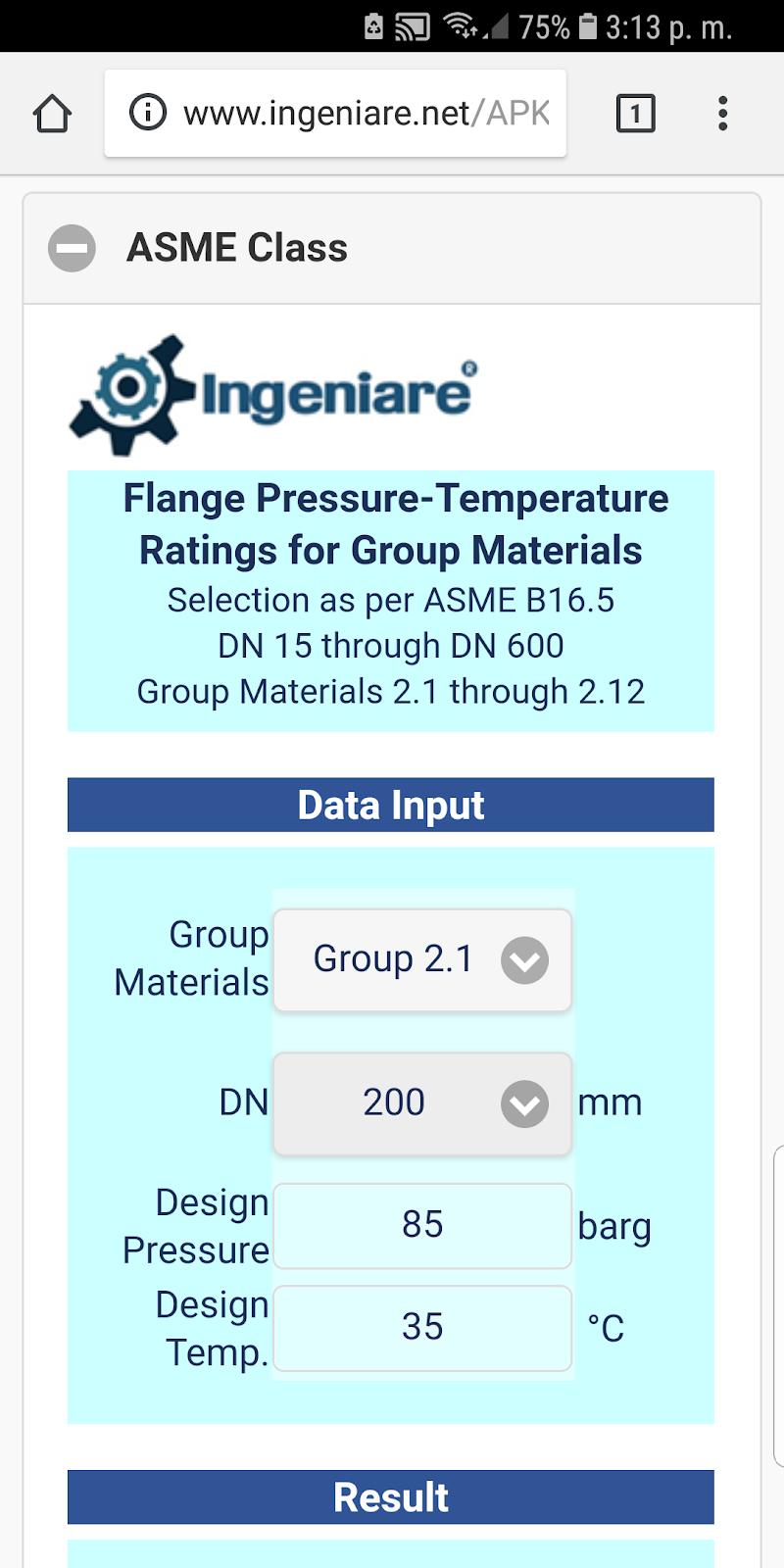 Скриншот ASME B16.5 Group 2.1 to 2.12 SI Units