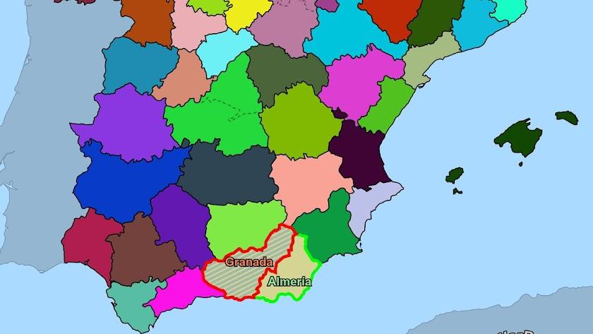 El mapa de España, convertido en un tablero bélico.
