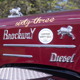 by Art Tilts - Transportation Automobiles ( brockway, diesel, classic, chrome, truck, over the road, antique, big rig, maroon )