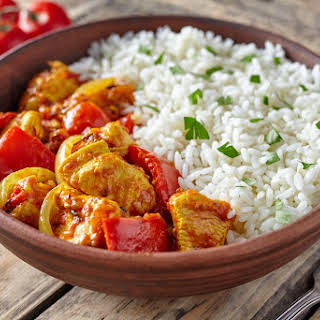 Slow Cooked Creamy Turkey Jalfrezi & Rice.
