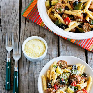 Pasta Salad Recipe with Italian Sausage, Zucchini, Red Pepper, and Olives (Family Favorite).