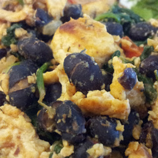 Tofu Scramble with Black Beans and Wilted Spinach Recipe