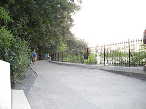 Photo: Some people walking the wrong way on the running trail, with a baby carriage. (See next photo)