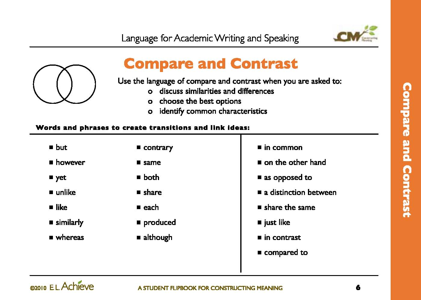 teaching writing compare and contrast essays
