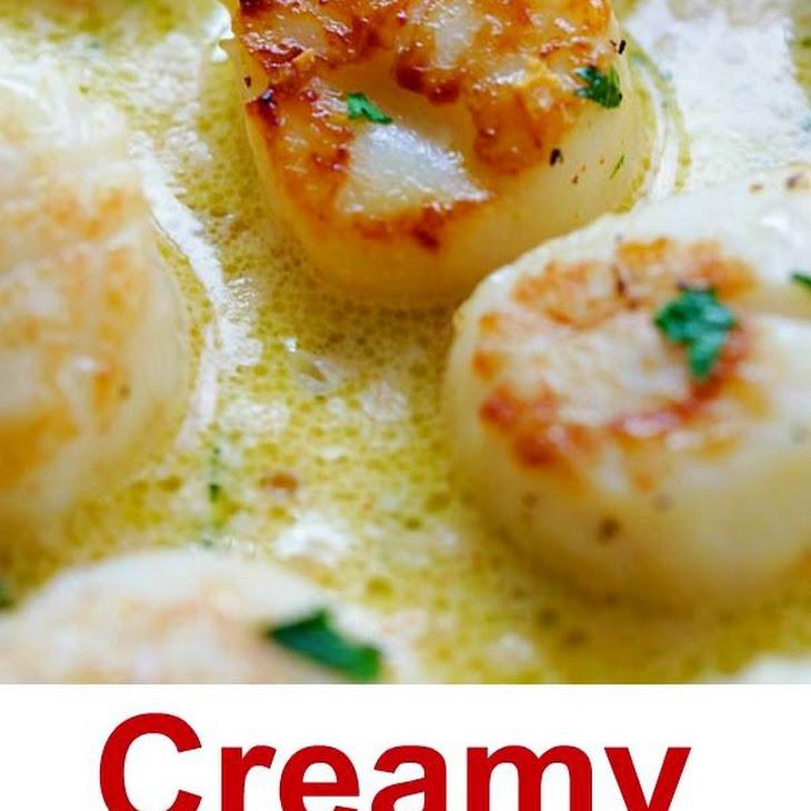 Creamy Garlic Scallops Recipe | Yummly
