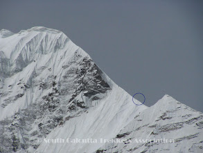 Photo: Members seen on the summit ridge.. as seen from Camp-I (with 10x zoom)
