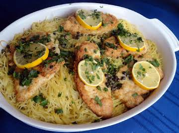 Chicken Francaise Over Spaghetti