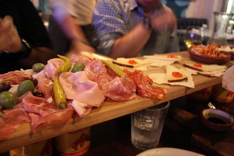 The Plank meat and cheese board at Jamie's Italian restaurant on Harmony.