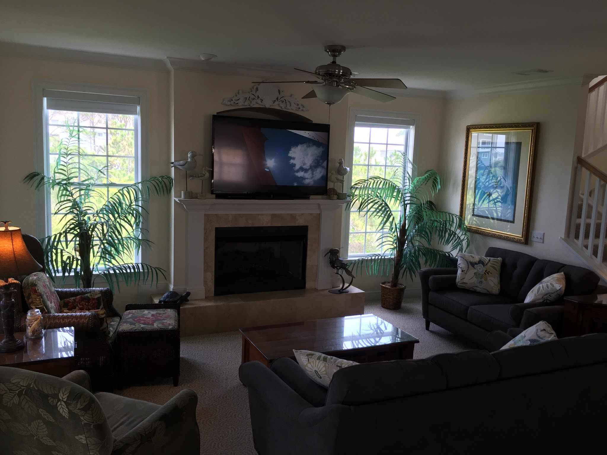 Photo: Living area with gas fireplace