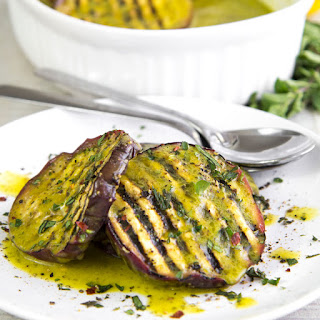 GRILLED EGGPLANTS MARINATED WITH SALMORIGLIO (lemon and oil sauce).