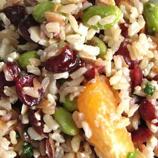 Clementine Brown Rice Salad with Edamame and Cranberries.