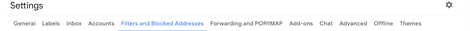 Gmail settings options