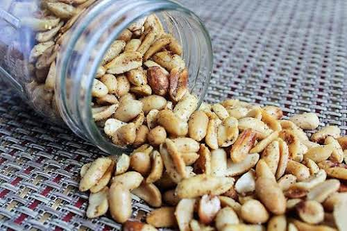 """Click Here for Recipe: Spicy Peanuts """"Once these spicy peanuts are cooled,..."""