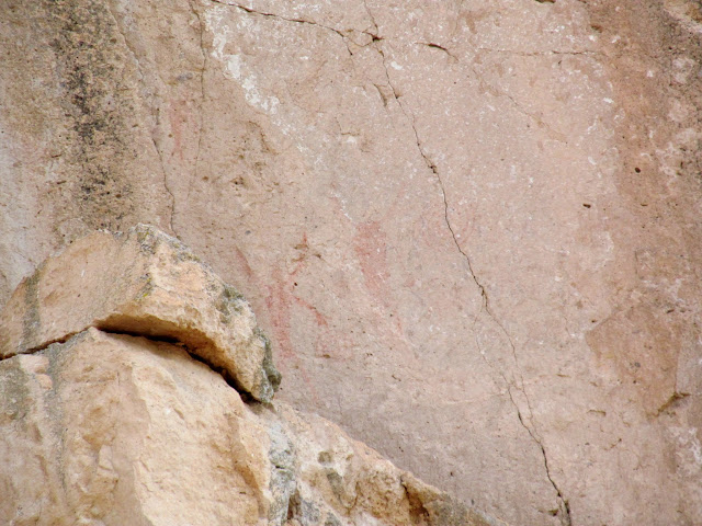 Badly faded pictographs