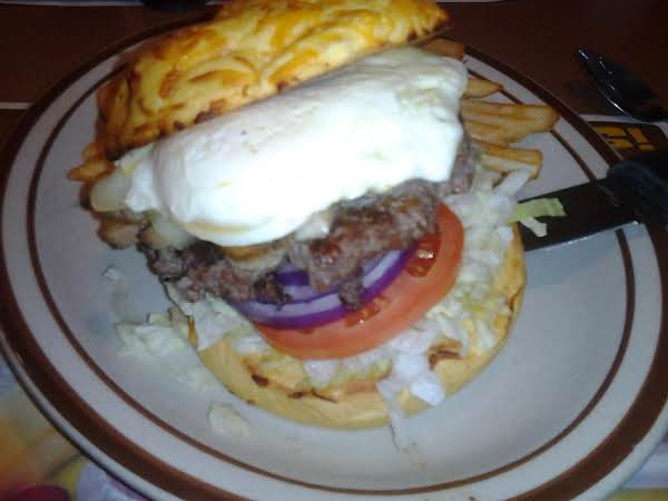 This Is The Second Attempt On The Burger In Two Days. I Have Found That The Egg Must Be Cooked  Almost Completely In Order Not To Make A Real Mess. But If You Like Your Yokes Runny This Will Work Too. Lol Enjoy. Lord Knows I Did.