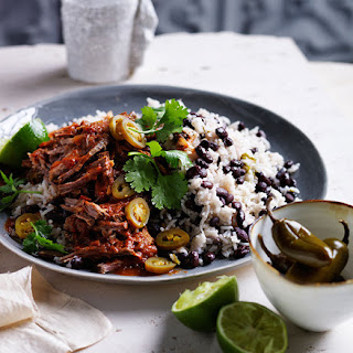Cuban Black Beans And Rice With Pulled Beef.