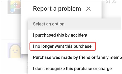 select a refund reason
