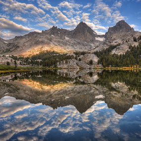 Banner and Ritter Reflected in Lake Ediza by Cliff LaPlant - Landscapes Mountains & Hills ( opens spaces, mountain, national parks, ediza, nature, range of light, shadow, light, wild, california, banner peak, lake, ansel adams wilderness, mount ritter, united states, environment, sierras, ritter, outdoors, ansel adams, minarets, outside, america, waterfall, landscape, usa, photography, lake ediza, mountains, sierralara, inyo national forest, long exposure, nikon, evening, banner, water, sierra nevada, park, open space, united states of america, national park, wilderness, shadow creek, color, sunset, time lapse, sunrise, sierra, inyo )