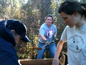 Photo: Dr. Rochelle Marrinan, Kathryn Faircloth and Morrison in the woods.  Excavating a shovel test as part of the FSU Anthropology/Panhandle Archaeological Society of Tallahassee/Bureau of Archaeological Research DeSoto Entrada explorations.