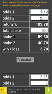 calculator sure bets