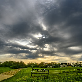 Foreboding by Garnie Ross - Landscapes Weather ( farm, clouds, ranch, fence, sky, tree, sunset, agriculture, dark, weather, sunrise, sun )