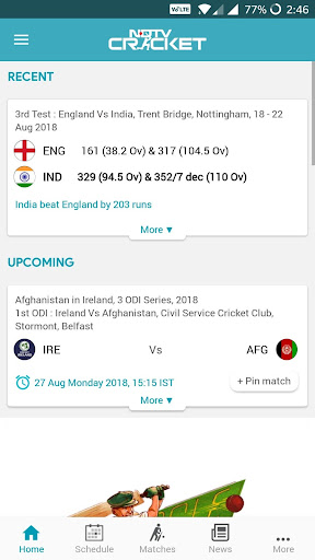 NDTV Cricket 4.1.5 screenshots 1