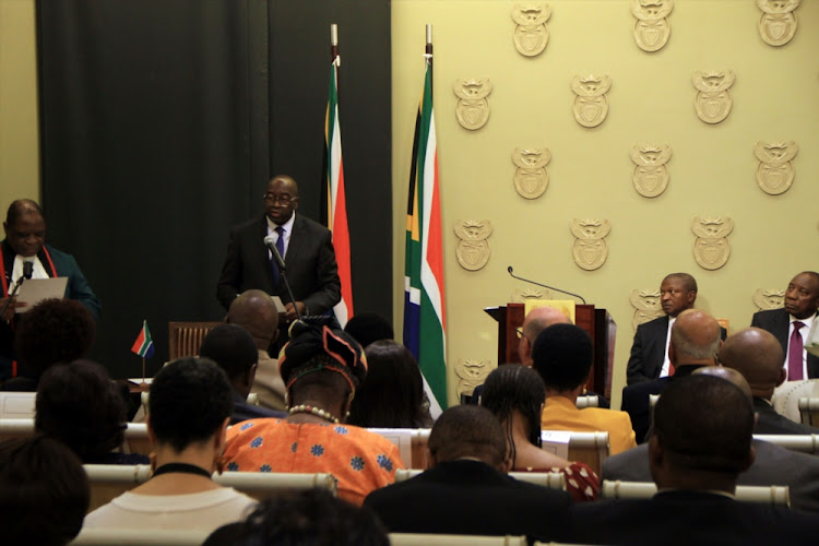 File photo of Nhlanhla Nene being sworn in as the Minister of Finance during the Swearing-in ceremony of the new Deputy President, Cabinet Ministers and Deputy Ministers as Members of the National Executive on February 27, 2018 in Cape Town, South Africa.