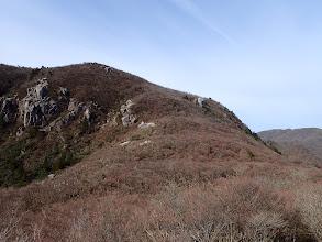国見岳北斜面(所々が赤く)