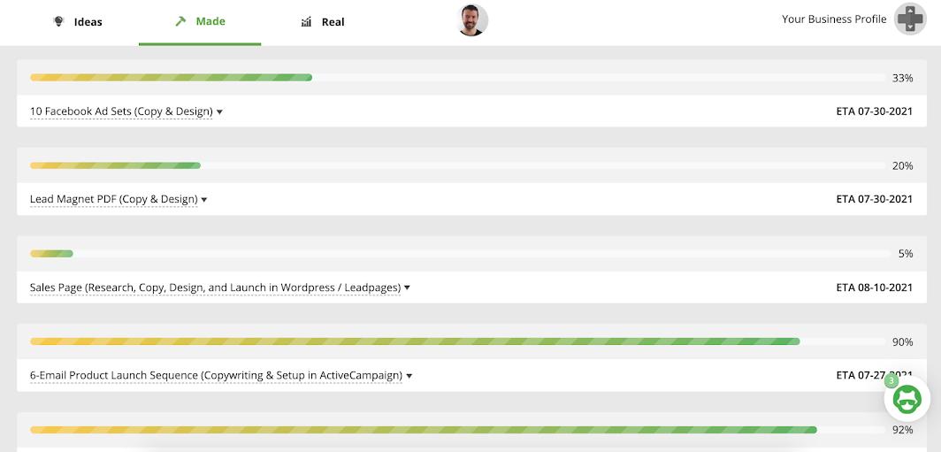 AutoGrow App Examples - Progress bars