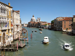 Photo: But the Grand Canal is the star of the show.  In this photo, two water taxis in the foreground, two private boats and a gondola in the mid ground, and a vaporetto or water bus in the background.