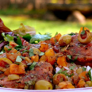 Spicy Chicken Thighs with Apricots and Olives.
