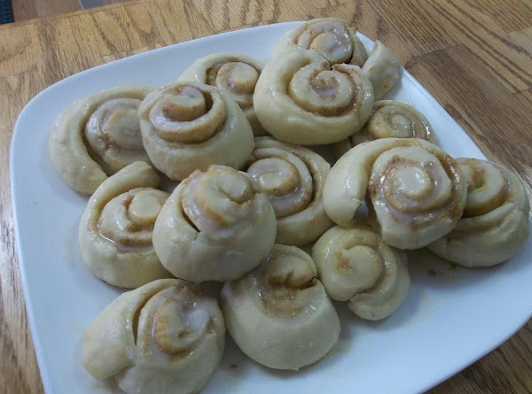 Cinnamon Rolls:Dissolve yeast, etc...Flatten onto cutting board, spread with softened butter and sprinkle with...