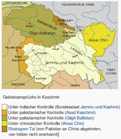 Landkarte von Kaschmir und umliegenden Gebieten.