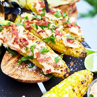 Grilled Corn on the Cob with Garlic, Mayo, and Bacon.