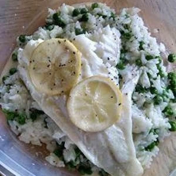 Ginger Steamed Cod Lemon Butter & Pea Rice