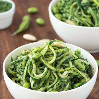 Zoodles with Kale Pesto and Edamame.