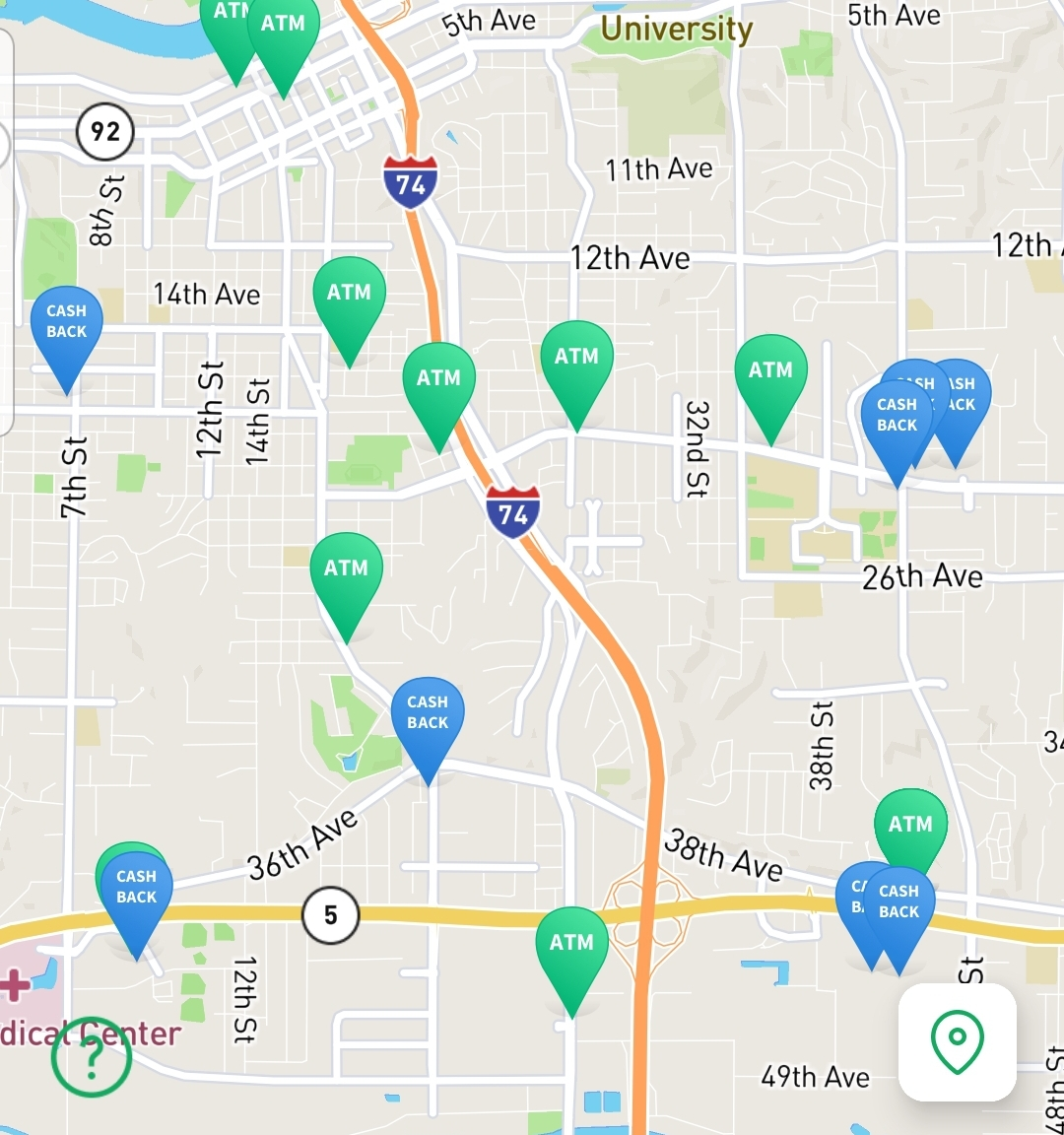 A screenshot of a map with many Chime friendly ATM's. Chime is a great online banking service.