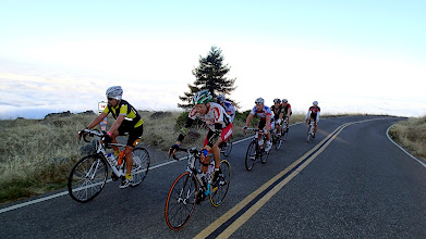 Photo: On Ridgecrest Road Mt. Tam.  Max on left in yellow highlights, Rod Palomino at the rear