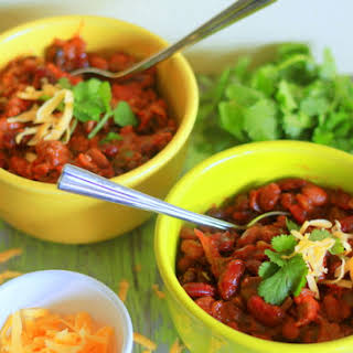 Slow-Cooker Easy Three-Bean Chili with Ground Beef (or Not).