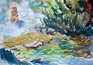 Photo: En el rio Bolatica 18 x 26 cm, 6-9-06, 220 €