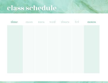 Class Schedule Mint - Weekly Planner template