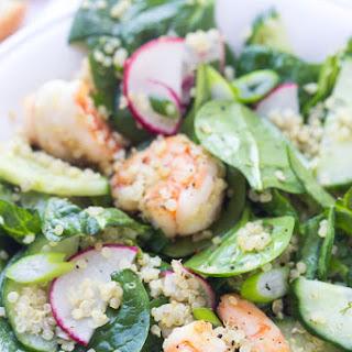 Spring Quinoa Shrimp Salad with Honey Lemon Vinaigrette