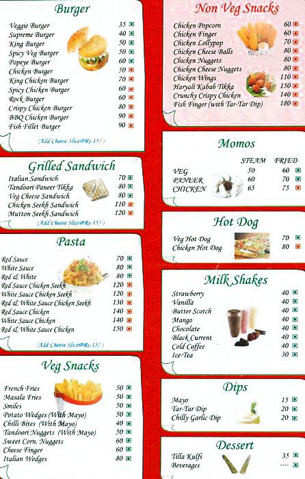 Burger Treat menu 1