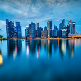 Singapore cityscape by Joey Rico - City,  Street & Park  Skylines ( sky, singapore, blue, city, cityscape, water )