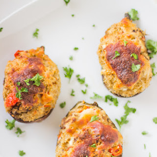 Cheesy Quinoa Stuffed Eggplants.